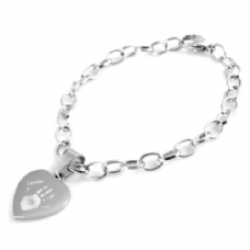 Handprint or Footprint Engraved Chain Bracelet